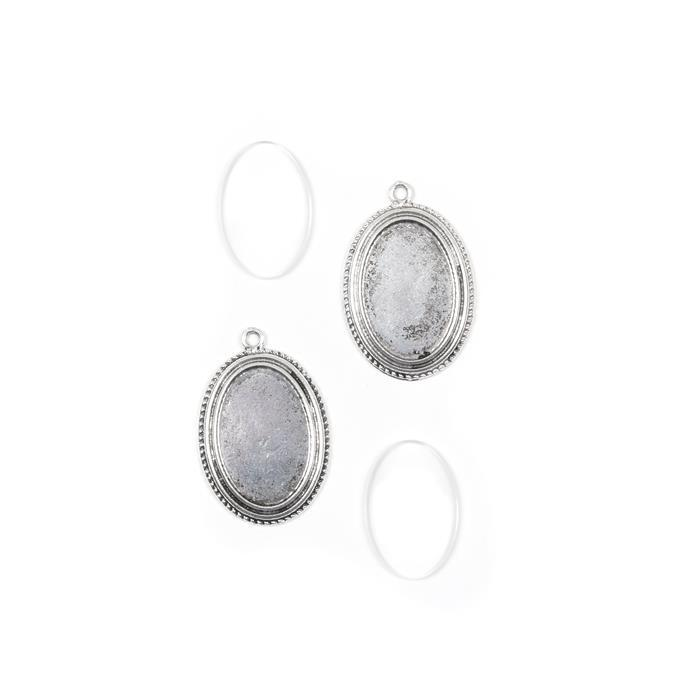 Silver Oval Pendant Approx 43x29mm, Photo Size 30x20mm, 2pk