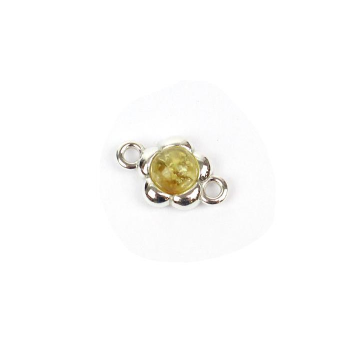 Baltic Lemon Amber Round Cabochon Flower Connector Approx 9mm Sterling Silver