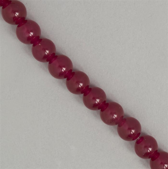 250cts Red Colour Dyed Quartz Plain Rounds Approx 9mm, 36cm Strand.