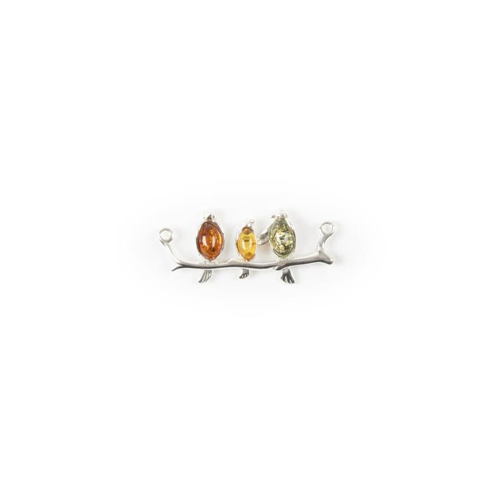 Baltic Multicolour Amber Sterling Silver Three Birds Connector - 30x13mm