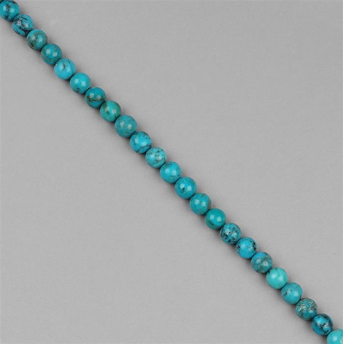 48.5cts Turquoise Plain Rounds Approx 5mm, 18cm Strand.