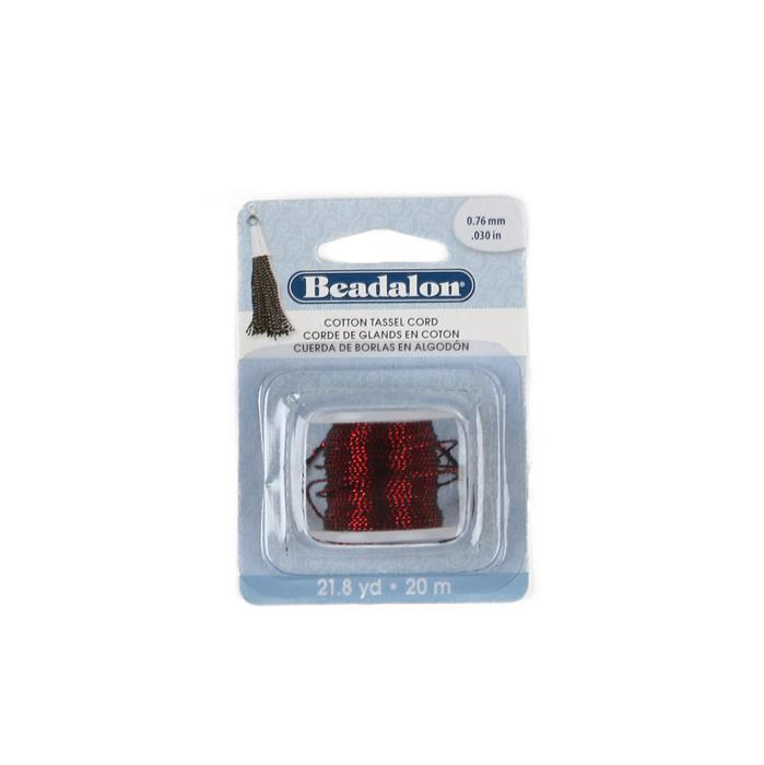 20m Beadalon Cotton Tassel Cord Metallic Red on Black