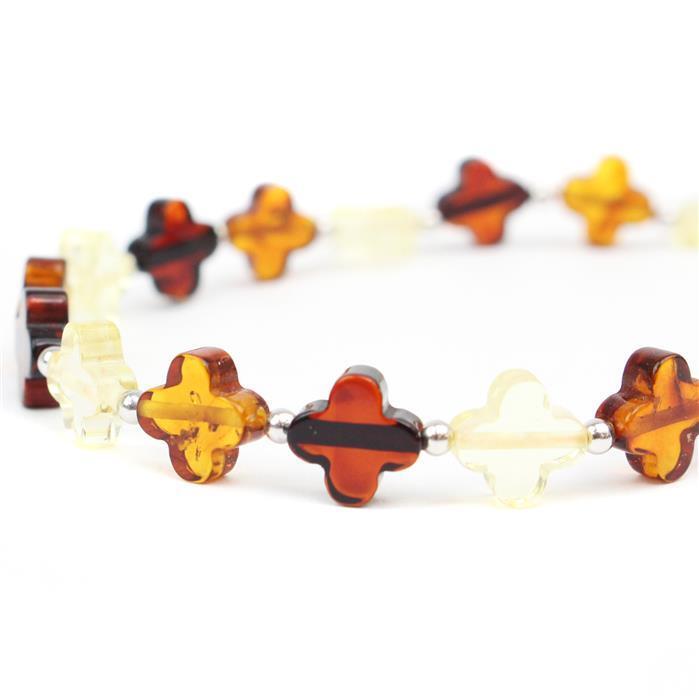 Baltic Multi-Colour Amber Flower Beads Approx 8mm, 20 cm Strand Inc. Sterling Silver Spacers