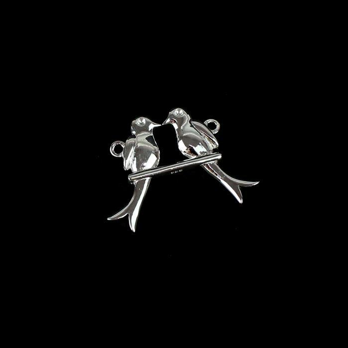 925 Sterling Silver Love Bird on a Swing Pendant / Connector Approx 21x29mm 1pc
