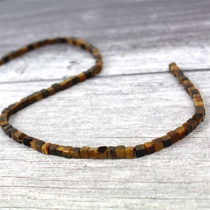 60cts Tigers Eye Cube Approx 4mm, 38cm strand