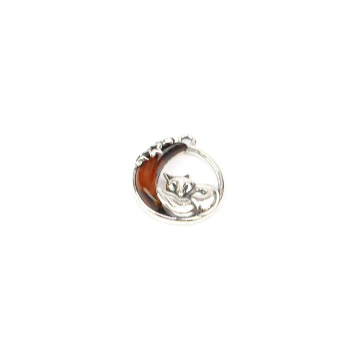Baltic Cognac Amber Fox & Moon Sterling Silver Charm Approx 18x16mm