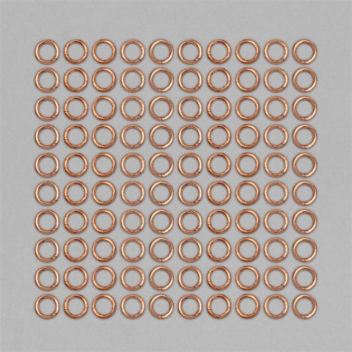 Bare Copper Open Jump Rings Approx 6mm (100pcs)