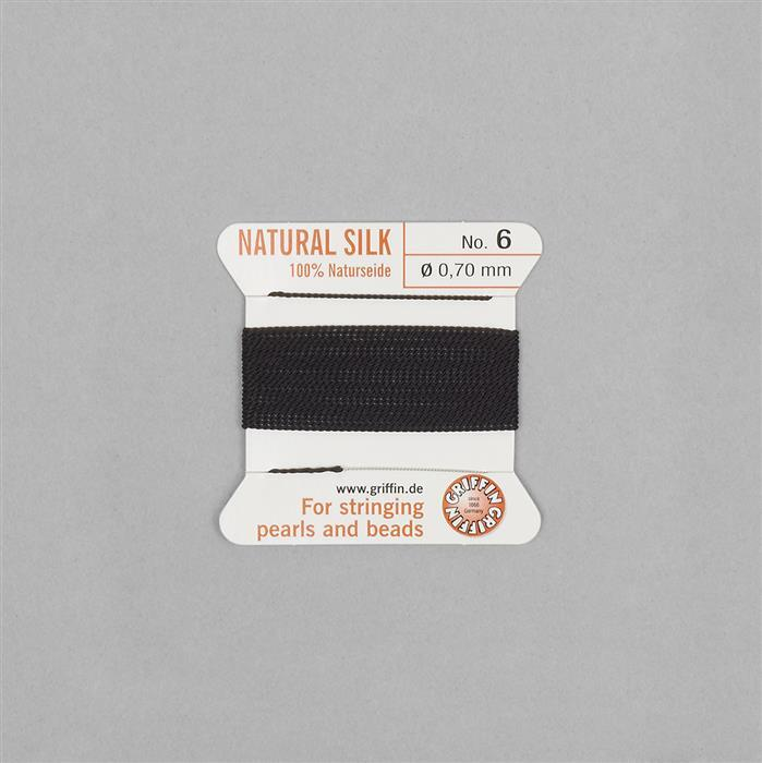 Silk Thread, Size 06 (.70mm, .028 in) - Black, with needle, 2m (6.5ft)