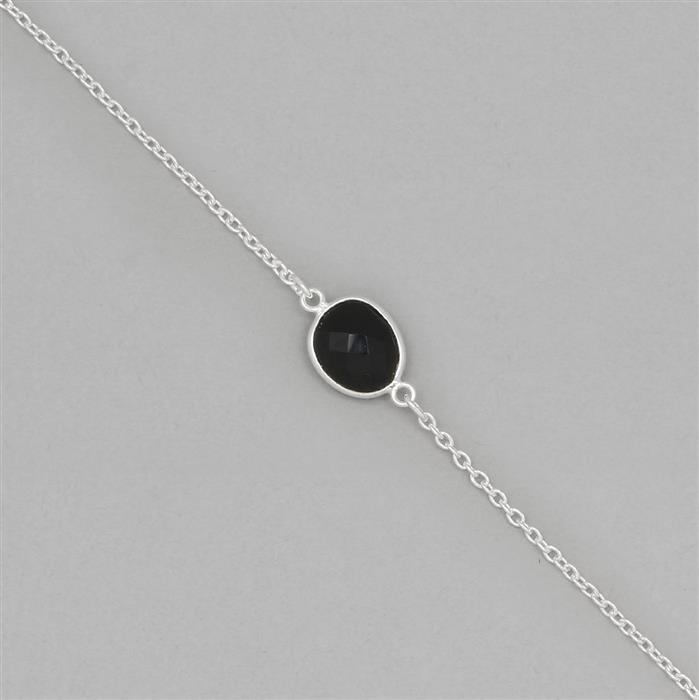 925 Sterling Silver Gemstone Bezel Chain Approx 17x9 to 19x11mm Inc. 15cts Black Onyx Fancy Briolette Cut, Length Approx 70cm