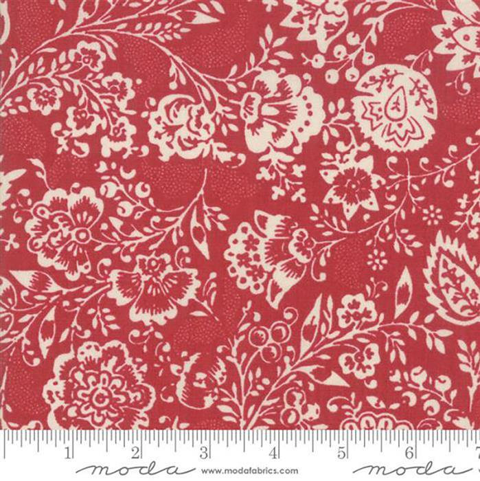 Moda Chafarcani Pearl Floral White on Red Fabric 0.5m