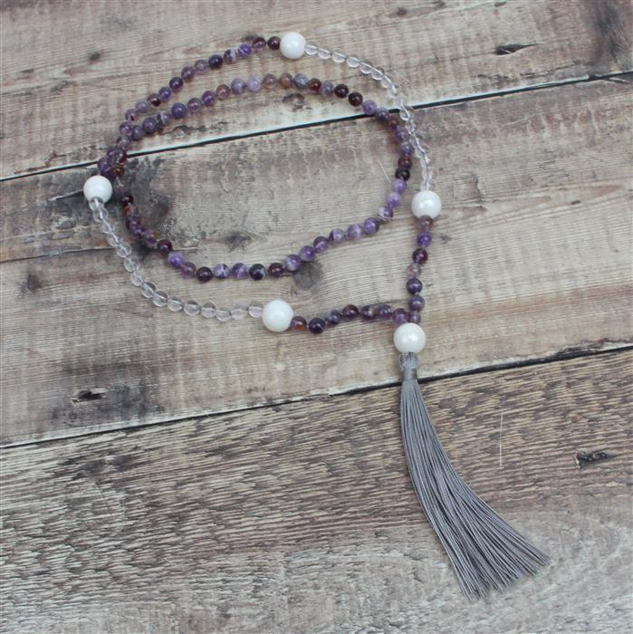 Mala Necklace; Amethyst, Clear Quartz, Ceramic Beads & Nylon Cord 0.4mm