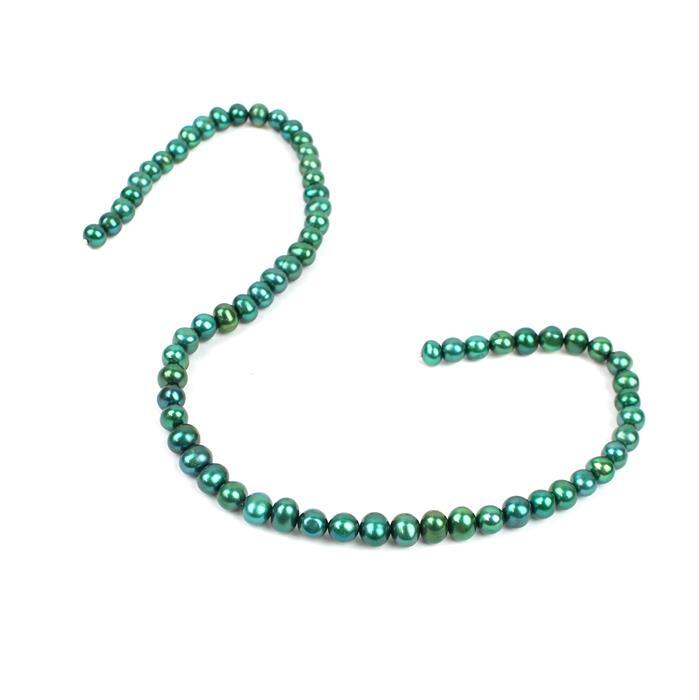 Green Freshwater Cultured Potato Pearls  Approx 6-7mm, 38cm Strand