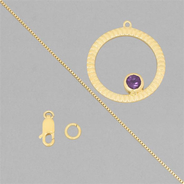 Birthstone Kit: Gold Plated 925 Sterling Silver Birthstone Necklace Kit Inc. 0.40cts Amethyst Round Approx 5mm