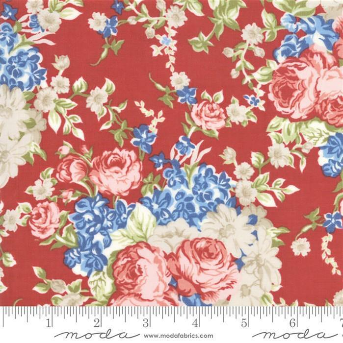 Moda Mackinac Island Faded Roses on Red Fabric 0.5m