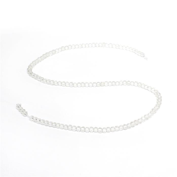 30cts Clear Quartz Faceted Pumpkins, Approx 4mm, 38cm strand