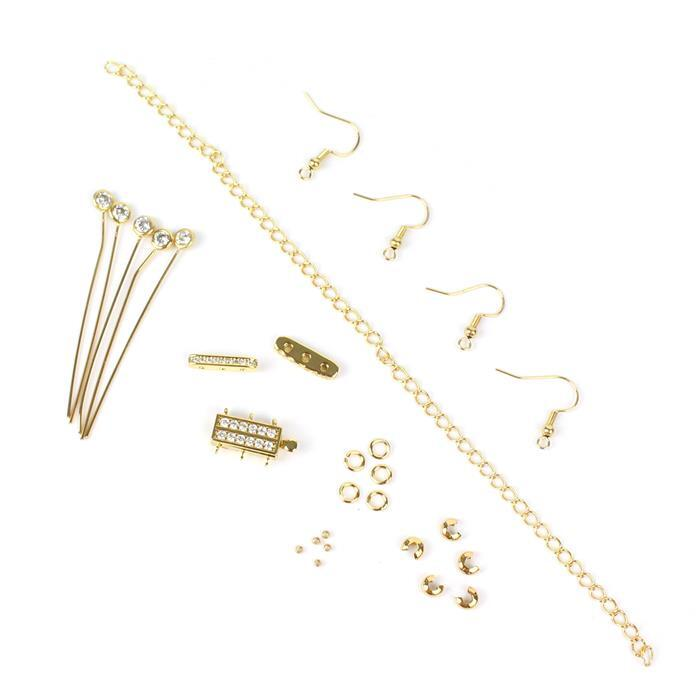 Gold Plated Base Metal Vintage CZ Findings Pack (28pcs)