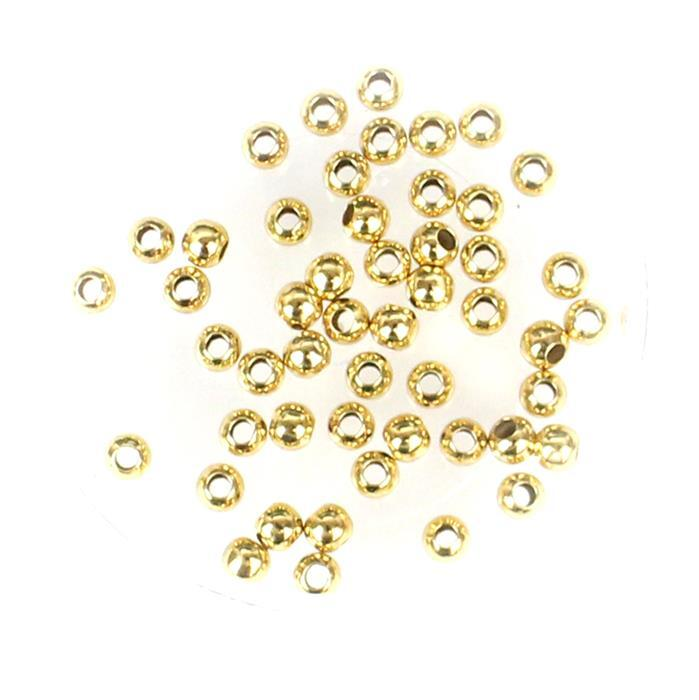 Gold Plated Base Metal Spacer Beads, Approx 3mm (50pcs)