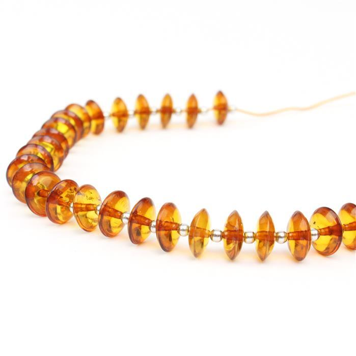 Baltic Cognac Amber Saucers Approx 8mm Inc Sterling Silver Spacers Beads, 20cm strand