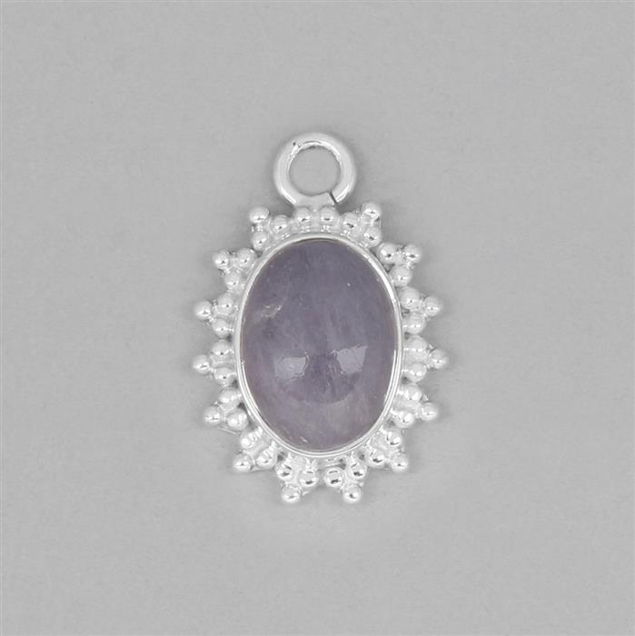925 Sterling Silver Gemset Pendant Approx 24x17mm Inc. 5cts Tanzanite Oval Cabochon Approx 14x10mm