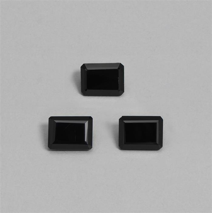 38cts Black Spinel Step Cut Octagon Shape Approx 15x11mm. (3pcs)