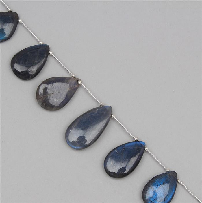150cts Labradorite Graduated Plain Pears Approx 14X10 to 22X14mm, 15cm Strand.