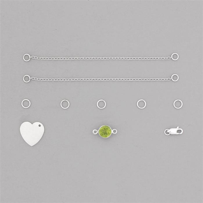 Birthstone Kit: 925 Sterling Silver Bracelet Kit Inc. 1.91cts Peridot Brilliant Round Approx 8mm (10pcs)