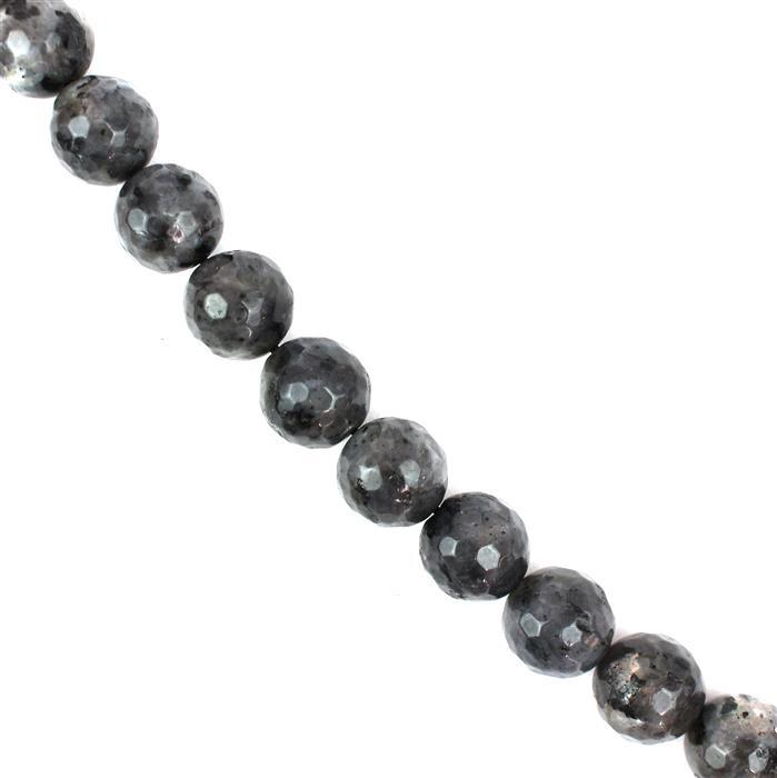 350cts Larvikite Faceted Rounds Approx 12mm, 38cm Strand