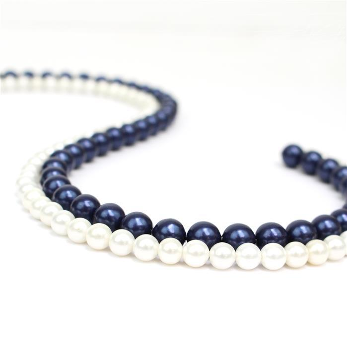 Shell Pearl Rounds! Inc Deep Blue 8mm & Pearlescent White 6mm.