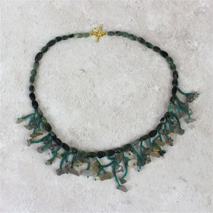 Spring Greens:Emerald irregular ovals, grey agate nuggets, emerald grey seedbeads & thread