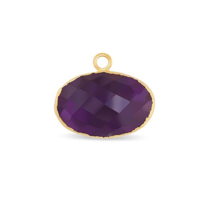 Gold Electroplated Amethyst Faceted Oval Pendant - 16cts