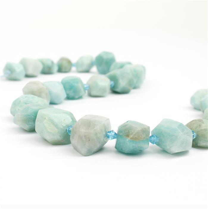 510cts Amazonite Faceted Nuggets Approx 10x13 - 15x18mm, 38cm strand