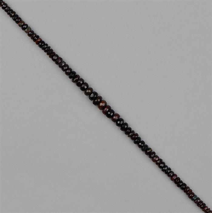 23cts Black Ethiopian Opal Graduated Faceted Rondelles Approx 2x1 to 6x3mm, 18cm Strand.