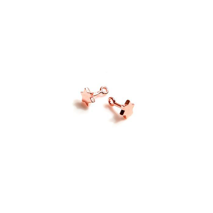 Rose Gold Plated 925 Sterling Silver Star Pegs Approx 5mm (2pc)