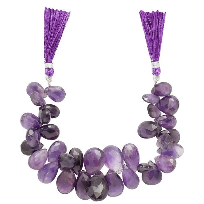 240cts Amethyst Graduated Faceted Elongated Pears Approx From 12x8 to 22x14mm, 16cm Strand.