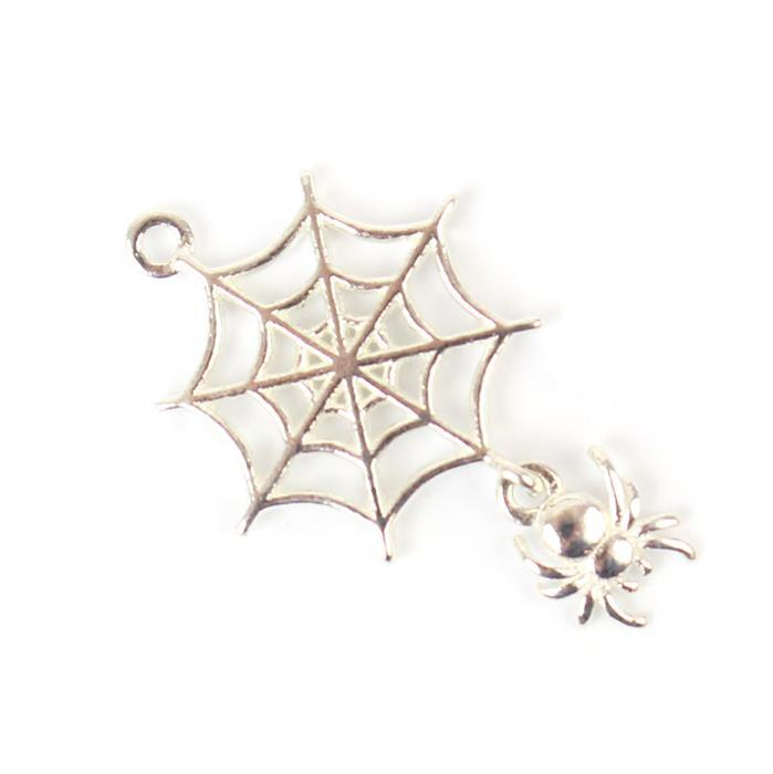 925 Sterling Silver Spider Web Charm Approx 21mm, 1pcs