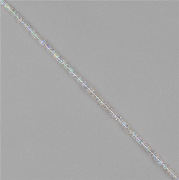 22.50cts Ethiopian Opal Graduated Faceted Rondelles Approx 2x1 to 4x2mm, 20cm Strand.