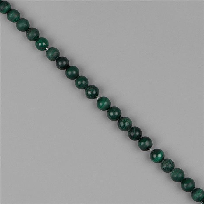 146cts Malachite Plain Rounds Approx 8 to 9mm, 18cm Strand.