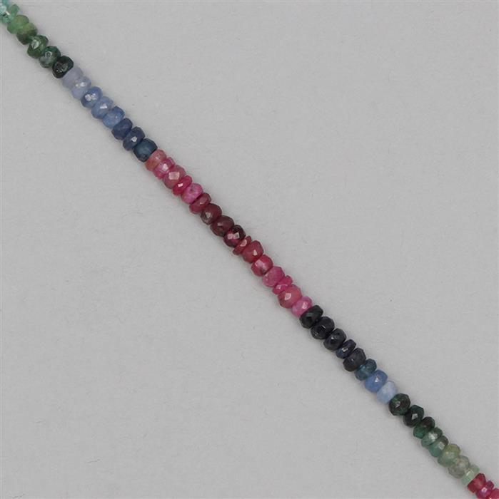 28cts Ruby, Emerald & Sapphire Graduated Faceted Rondelles Approx 2x1 to 4x2mm, 17cm Strand.