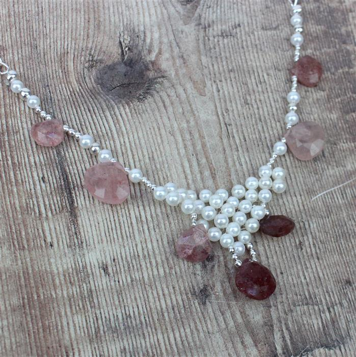 Strawberries & Cream; 156cts Strawberry Quartz Pears, Pearlescent White Shell Pearl 4mm