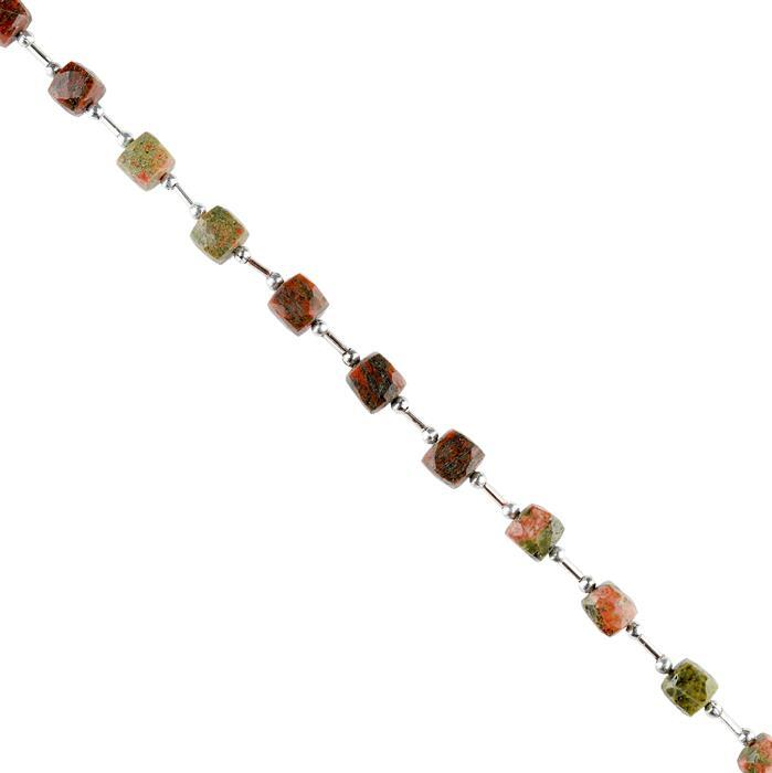76cts Unakite Graduated Faceted Cubes Approx 7 to 9mm, 18cm Strand.