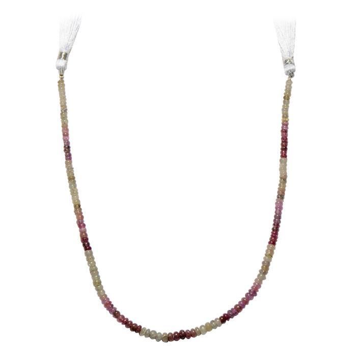 62cts Multi Colour Sapphire Graduated Plain Rondelles Approx 2x1 to 5x3mm, 30cm Strand.