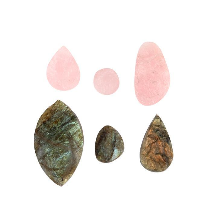 238cts Rose Quartz & Labradorite Drusy Multi Shape Drilled Assortment.