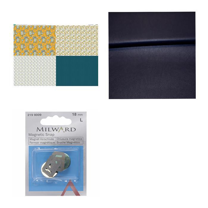 Debbie Shore Copen Summer Navy Bag Kit: Fabric (0.5m), FQ Fabric Panel & Magnetic Snap