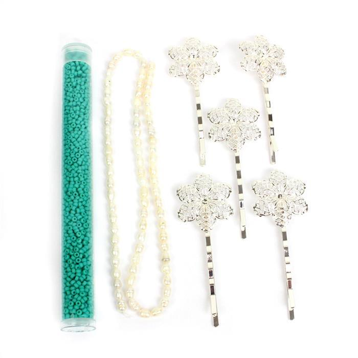 Turquoise Chic INC White Pearls, Turqouise 11/0s & NEW Silver Floral Filigree Pins
