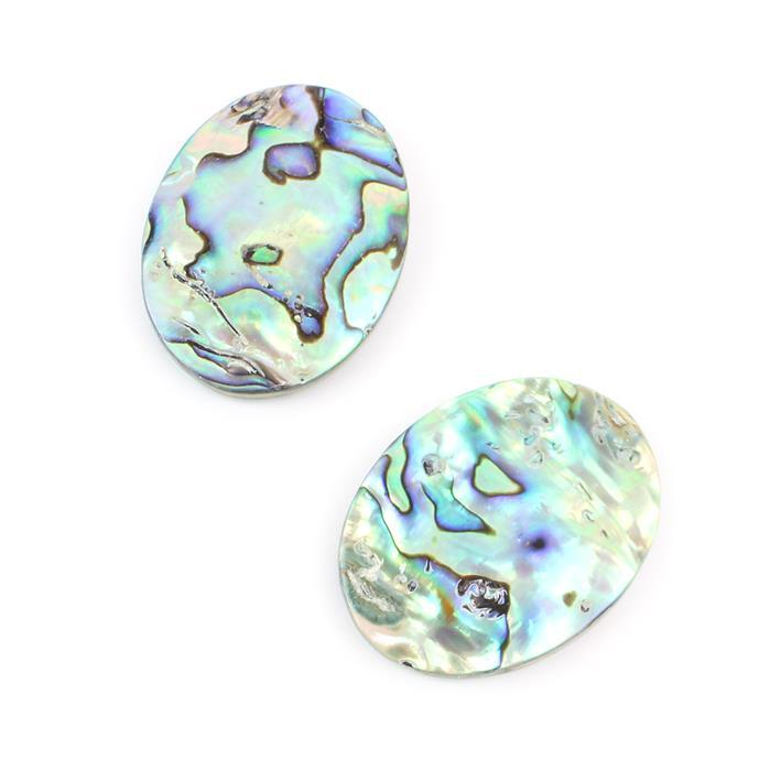 Double Double! 2x Double Sided Abalone Oval Cabochon Approx 40x30mm
