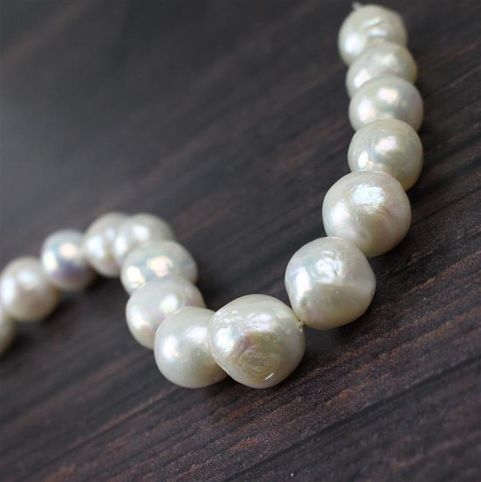 Metallic White Freshwater Cultured Pearls Approx 12-14mm, Approx 20cm strand