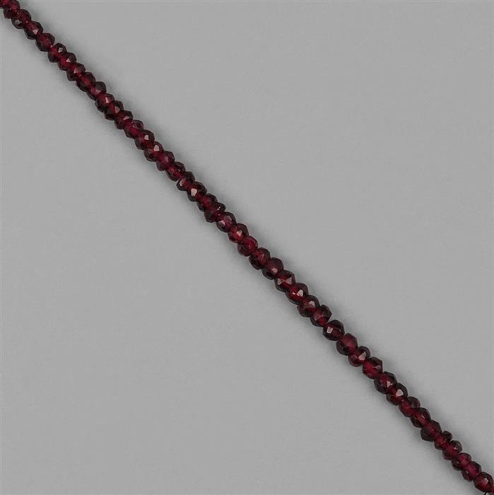 46cts Mozambique Garnet Graduated Faceted Rondelles Approx 2x1 to 4x3mm, 30cm Strand.