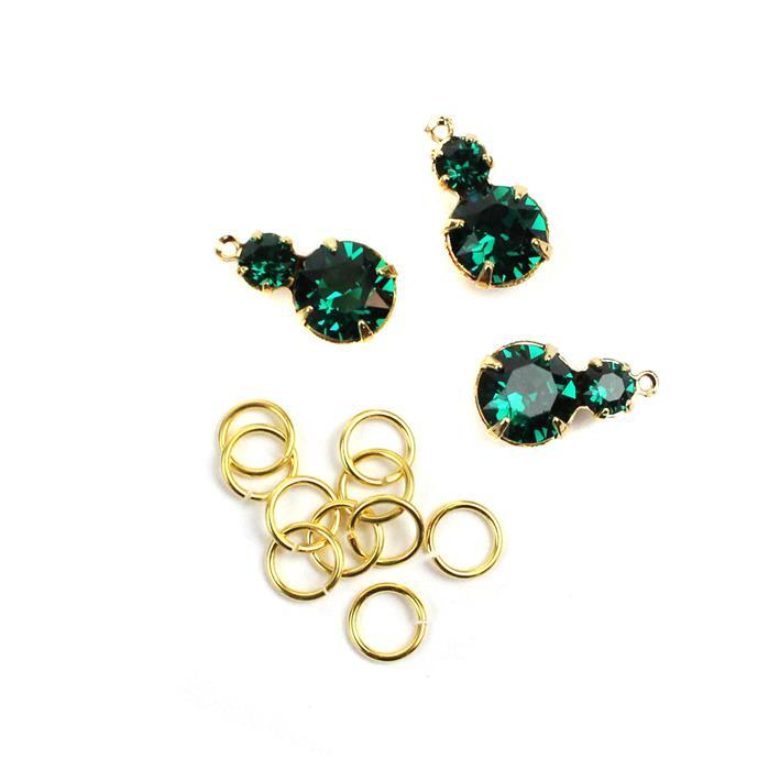 May Swarovski Pendant Kit: Emerald & Gold Multi Stone Pendants & Jump Rings