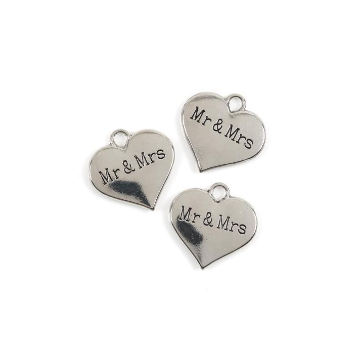Silver Colour Heart Charms Engraved With Mr & Mrs Approx 3cm 3pk