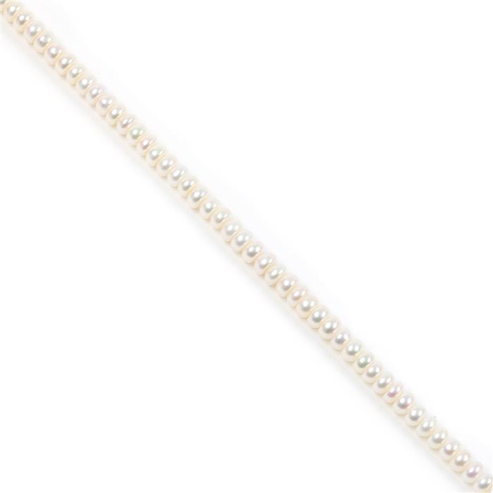 White Freshwater Cultured Pearl Button Beads Approx 4x6mm, 38cm Strand